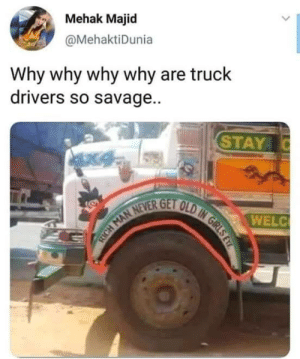 Memes, Savage, and 🤖: Mehak Majid  @MehaktiDunia  Why why why why are truck  drivers so savage..  STAY  WELC