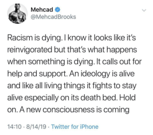 Hold on. (via /r/BlackPeopleTwitter): Mehcad  @MehcadBrooks  Racism is dying. I know it looks like it's  reinvigorated but that's what happens  when something is dying. It calls out for  help and support. An ideology is alive  and like all living things it fights to stay  alive especially on its death bed. Hold  on. A new consciousness is coming  14:10 8/14/19 Twitter for iPhone Hold on. (via /r/BlackPeopleTwitter)