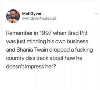Brad Pitt, Dank, and Diss: MehGyver  @AndrewNadeauo  Remember in 1997 when Brad Pitt  was just minding his own business  and Shania Twain dropped a fucking  country diss track about how he  doesn't impress her?