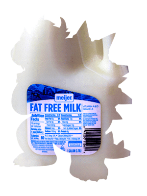 me_irl: meijer.  FAT FREE MILKI  VITAMIN A&D  GRADE A  ving SW  dutrition  Facts  6 senvings  per container  Sening size  1 cup 240m)  Calories  w 80  Tatal Fat  Car 1  Sat Fat Og  Ersie Og  Toa Supars thy  BOMDI  lodiun  ing2  RA Mng %  RO  1GALLON G7) me_irl