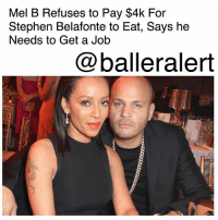 "Mel B Refuses to Pay $4k For Stephen Belafonte to Eat, Says he Needs to Get a Job - blogged by @MsJennyb ⠀⠀⠀⠀⠀⠀⠀ ⠀⠀⠀⠀⠀⠀⠀ In the wake of StephanBelafonte's emergency request for spousal support, MelB has filed documents to shut the entire thing down. ⠀⠀⠀⠀⠀⠀⠀ ⠀⠀⠀⠀⠀⠀⠀ If you recall, Belafonte asked his estranged wife to cough up several thousand dollars to cover his food, clothing and cell phone bill. In turn, the singer broke down the costs in recent docs to prove the requested amounts are outrageous. ⠀⠀⠀⠀⠀⠀⠀ ⠀⠀⠀⠀⠀⠀⠀ According to TMZ, she says $4,300 for food and groceries, which translates to $140 a day, is a weeks worth of food for a family of four. In addition, she says she's not willing to cough up $2,000 a month for clothing, as he has a full wardrobe that he took when he moved out. She also says he's been staying with friends, so $11,000 for housing is unnecessary. ⠀⠀⠀⠀⠀⠀⠀ ⠀⠀⠀⠀⠀⠀⠀ As for Belafonte's request for $750 a month for a new phone plan, Mel B says it's an ""exorbitant"" cost for just one phone. ⠀⠀⠀⠀⠀⠀⠀ ⠀⠀⠀⠀⠀⠀⠀ Ultimately, Mel B says if Belafonte is crying broke, he needs to find a new job instead of working full-time at Serafina, a restaurant the two co-own together. ⠀⠀⠀⠀⠀⠀⠀ ⠀⠀⠀⠀⠀⠀⠀ In the meantime, TMZ reports that the restraining order case between Mel B and ex-nanny Lorraine Giles has been thrown out since Giles was never personally served.: Mel B Refuses to Pay $4k For  Stephen Belafonte to Eat, Says he  Needs to Get a Job  @balleralert Mel B Refuses to Pay $4k For Stephen Belafonte to Eat, Says he Needs to Get a Job - blogged by @MsJennyb ⠀⠀⠀⠀⠀⠀⠀ ⠀⠀⠀⠀⠀⠀⠀ In the wake of StephanBelafonte's emergency request for spousal support, MelB has filed documents to shut the entire thing down. ⠀⠀⠀⠀⠀⠀⠀ ⠀⠀⠀⠀⠀⠀⠀ If you recall, Belafonte asked his estranged wife to cough up several thousand dollars to cover his food, clothing and cell phone bill. In turn, the singer broke down the costs in recent docs to prove the requested amounts are outrageous. ⠀⠀⠀⠀⠀⠀⠀ ⠀⠀⠀⠀⠀⠀⠀ According to TMZ, she says $4,300 for food and groceries, which translates to $140 a day, is a weeks worth of food for a family of four. In addition, she says she's not willing to cough up $2,000 a month for clothing, as he has a full wardrobe that he took when he moved out. She also says he's been staying with friends, so $11,000 for housing is unnecessary. ⠀⠀⠀⠀⠀⠀⠀ ⠀⠀⠀⠀⠀⠀⠀ As for Belafonte's request for $750 a month for a new phone plan, Mel B says it's an ""exorbitant"" cost for just one phone. ⠀⠀⠀⠀⠀⠀⠀ ⠀⠀⠀⠀⠀⠀⠀ Ultimately, Mel B says if Belafonte is crying broke, he needs to find a new job instead of working full-time at Serafina, a restaurant the two co-own together. ⠀⠀⠀⠀⠀⠀⠀ ⠀⠀⠀⠀⠀⠀⠀ In the meantime, TMZ reports that the restraining order case between Mel B and ex-nanny Lorraine Giles has been thrown out since Giles was never personally served."