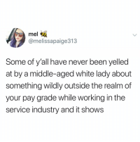 This hit deep: mel  @melissapaige313  Some of y'all have never been yelled  at by a middle-aged white lady about  something wildly outside the realm of  your pay grade while working in the  service industry and it shows This hit deep