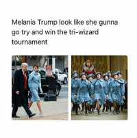 """Melania Trump, Memes, and Wizards: Melania Trump look like she gunna  go try and win the tri-wizard  tournament THE MOVIE """"THE CAMPAIGN"""" IS FUNNY BUT THEY EXAGGERATE OUR ACCENTS IN NC PEOPLE WHERE I LIVE DONT SOUND LIKE THAT"""