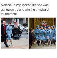 Some quid itch shit 😂 Follow @shufflestyles 🔥 yamgram takeyourshirtoff germany neezduts noharmdone: Melania Trump looked like she was  gonna go try and win the tri-wizard  tournament Some quid itch shit 😂 Follow @shufflestyles 🔥 yamgram takeyourshirtoff germany neezduts noharmdone