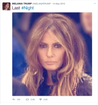 me: MELANIA TRUMP @MELANIATRUMP 14 May 2015  Last #Night  133  2.2K me