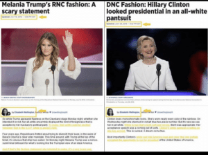 The suit of white supremacy: Melania Trump's RNC fashion: A  scary statement  DNC Fashion: Hillary Clinton  looked presidential in an all-white  pantsuit  Updated: JULY 19, 2016-5:38 PM EDT  Updated: JULY 28, 2016-952 PM EDT  JESSICA GRIFFIN/STAFF PHOTOGRAPHER  Melania Trump at Quicken Loans Arena on the first day of the Repubilican National Convention on Monday, July 18 2016, in Cleveland  AP PHOTO/ ScorT APPLEWHITE  Democratic presidential nominee Hillary Clinton smiles during her speech during the final day of the Democratic National Convention in  Philadelphia on Thursday, July 28, 20  by Elizabeth Wellington, ashion Writer  gewellingtonphl  by Elizabeth Wellington, Fashion writer@ewellingtonph  So while Trump appeared flawless on the Cleveland stage Monday night, whether she  intended it or not, her all-white ensemble displayed the kind of foreignness that is  accepted by her husband's political party. To many, that outfit could be another  reminder that in the G.O.P. white is always rinht  Clinton loves monochromatic looks. She's worn nearly every color of the rainbow. On  Wednesday night she stunned in cobalt blue two-piece number. But it's rare we see  her in all white. White is bue that's both soft and strong But it was appropriate: Her  acceptance speech was a coming out of sorts. Cinton's white pantusit is telling us  she has arrived. This is surreal. A dream come true.  Four years ago, Republicans fretted about trying to diversify their base, in the wake of  Barack Obama's clear voter mandate. This time around, with Trump at the top of the  ticket, it's obvious that ship has sailed. On Monday night, Melania Trump was a not-so-  subliminal billboard for what's looking like the Trumpian view of an ideal America.  Most importantly Clinton's white suit told America lod and clear that she joyfully  accepted the ooportunity to run for president of the United States of America.  And if that's the fashion statement she intended to make, it's a very scary one The