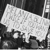 Funny, Submissive, and Submission: MELANIABLIN  TWICE IF YOU WANT  US TO SAVE YOU  IAN  只 Will be posting the best signs from today's walks. Submissions welcome. (By @makroop)