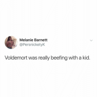 that's it. that's the whole series ⚡️🦉: Melanie Barnetit  @PersnicketyK  Voldemort was really beefing with a kid. that's it. that's the whole series ⚡️🦉
