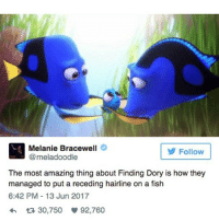Hairline, Memes, and Shit: Melanie Bracewell  @meladoodle  Follow  The most amazing thing about Finding Dory is how they  managed to put a receding hairline on a fish  6:42 PM-13 Jun 2017  わ 30,750 92,760 Hi peoples. It's chloe and I am very tired but you know what? Who gives a shit about sleep