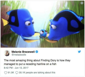 Melanie Bracewell  @meladoodle  The most amazing thing about Finding Dory is how they  managed to put a receding hairline on a fish  8:42 PM-Jun 13, 2017  91.5K30.1K people are talking about this
