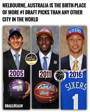 Scouts could now be booking more flights to Melbourne. 👀   Via bballrealm/Instagram https://t.co/6TARrqiC0t: MELBOURNE, AUSTRALIA IS THE BIRTH-PLACE  OF MORE #1 DRAFT PICKS THAN ANY OTHER  CITY IN THE WORLD  IXERS  HOOPS  NATION  ABALA  2005  2011  2016  REALM  SIXERS  TALIEK  CLEVELR  05  BBALLREALM  ST 12-24 Scouts could now be booking more flights to Melbourne. 👀   Via bballrealm/Instagram https://t.co/6TARrqiC0t