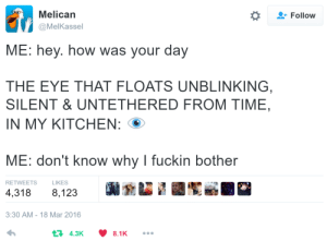Sorry, Tumblr, and Blog: Melican  @MelKassel  *  Follow  ME: hey. how was your day  THE EYE THAT FLOATS UNBLINKING  SILENT & UNTETHERED FROM TIME  IN MY KITCHEN:  ME: don't know why I fuckin bother  RETWEETSLIKES  4,318 8,123  3:30 AM-18 Mar 2016  4.3K8.1K illicticsart:  sorry this tweet is just Very Good and im glad