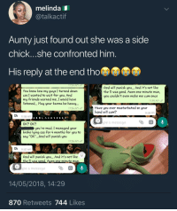 "<p>You don't masturbate to please your hand (via /r/BlackPeopleTwitter)</p>: melinda  @talkactif  Aunty just found out she was a side  chick...she confronted him  His reply at the end tho  11:52 AM  You know how my guys I turned down  cos I wanted to wait for you. And  my friends warned me, I would have  listened... May your karma be heavy...  God will punish you... And it's not like  the D was good. Awon one minute man,  ou couldn't even make me cum once  11:59 AM  Have you ever masturbated so your  hand will cum?  11:54 AM  12:00 PM  OK 11:55 AM  ERBLACK SHE EP  OK? OK?  ype a message  you're mad. I managed your  broke lying ass for 4 months for you to  say ""OK"".. .o wilpunish you  11:56 AM  Ok  11:57 AM  Grod will punish you... And it's not like  the D was cood. Awon one minute man  ype a message  14/05/2018, 14:29  870 Retweets 744 Likes <p>You don't masturbate to please your hand (via /r/BlackPeopleTwitter)</p>"