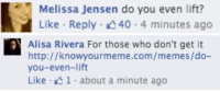 Memes, Http, and Com: Melissa Jensen do you even lift?  Like Reply 40 4 minutes ago   สุโ  Alisa Rivera For those who don't get it  http://knowyourmeme.com/memes/do-  you-even-lift  Like 41 about a minute ago