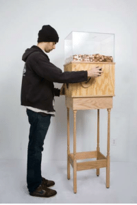 melleigh:   This machine allows anyone to work for minimum wage for as long as they like. Turning the crank on the side releases one penny every 4.97 seconds, for a total of $7.25 per hour. This corresponds to minimum wage for a person in New York. This piece is brilliant on multiple levels, particularly as social commentary. Without a doubt, most people who started operating the machine for fun would quickly grow disheartened and stop when realizing just how little they're earning by turning this mindless crank. A person would then conceivably realize that this is what nearly two million people in the United States do every day…at much harder jobs than turning a crank. This turns the piece into a simple, yet effective argument for raising the minimum wage.  god damn : melleigh:   This machine allows anyone to work for minimum wage for as long as they like. Turning the crank on the side releases one penny every 4.97 seconds, for a total of $7.25 per hour. This corresponds to minimum wage for a person in New York. This piece is brilliant on multiple levels, particularly as social commentary. Without a doubt, most people who started operating the machine for fun would quickly grow disheartened and stop when realizing just how little they're earning by turning this mindless crank. A person would then conceivably realize that this is what nearly two million people in the United States do every day…at much harder jobs than turning a crank. This turns the piece into a simple, yet effective argument for raising the minimum wage.  god damn
