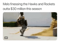 Basketball, Gif, and Nba: Melo finessing the Hawks and Rockets  outta $30 million this season  се  GIF Melo won 🤷‍♂️ Via @kingjosiah54