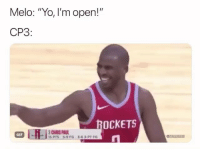"CP3 not having it 😂😭 (NBAMemes): Melo: ""Yo, I'm open!""  CP3  OCKETS  CHRIS PAUL  I5 PTS 5-9 FG  GIF  3-63-PT FG CP3 not having it 😂😭 (NBAMemes)"