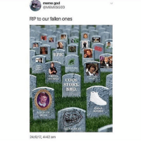 God, Meme, and Memes: meme god  @MEMESGOD  RIP to our fallen ones  thats  EPIC  CH  NORRI COOL  STORA  BRO  DAMN  DANIE  RIAN  AGE COMICS  24/6/17, 4:42 am I miss rage comics bc they remind me of a simpler time with not as much discourse - Max textpost textposts