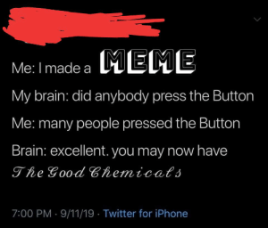 9/11, Iphone, and Meme: MEME  Me: I made a  My brain: did anybody press the Button  Me: many people pressed the Button  Brain: excellent. you may now have  The Good Chemicats  7:00 PM 9/11/19 Twitter for iPhone Ha ha, may I meet this Sarah tonin now?