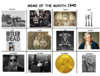 """<p>By studying the memes of the past, we can better predict future memeology via /r/MemeEconomy <a href=""""http://ift.tt/2n448Sj"""">http://ift.tt/2n448Sj</a></p>: MEME OF THE MONTH 1945  JANUAR)y  FEBRUARY  MARCH  APRIL  MAY  JUNE  JULY  AUGUST  HITLER  DEAD  Doenit  ar Wi Coetinute  SEPTEMBER  OCTOBER  NOVEMBER  DECEMBER <p>By studying the memes of the past, we can better predict future memeology via /r/MemeEconomy <a href=""""http://ift.tt/2n448Sj"""">http://ift.tt/2n448Sj</a></p>"""