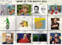 <p>Meme Of The Month 2016 Official Calendar (Re -revised)</p>: MEME OF THE MONTH 2016  JANUARY  FEBRUARY  MARCH  APRIL  MAY  JUNE  JULY  AUGUST  SEPTEMBER  OCTOBE  NOVEMBER  DECEMBER <p>Meme Of The Month 2016 Official Calendar (Re -revised)</p>