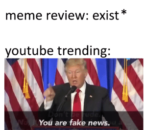 Meme review is fake review!: meme review: exist*  youtube trending:  Ne  You are fake news. Meme review is fake review!