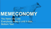 Post #DankMemes: MEMECONOMY  You have one cow.  Everybody milks it until it dies.  Bottom Text. Post #DankMemes
