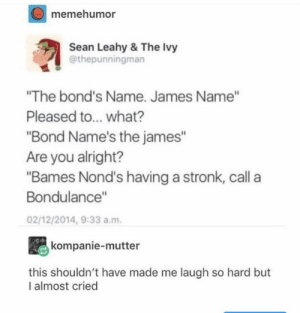 ": memehumor  Sean Leahy & The lvy  @thepunningman  ""The bond's Name. James Name""  Pleased to... what?  ""Bond Name's the james""  Are you alright?  ""Bames Nond's having a stronk, call a  Bondulance""  02/12/2014, 9:33 a.m  kompanie-mutter  this shouldn't have made me laugh so hard but  I almost cried"