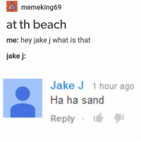 I laughed really hard at this: memeking69  at th beach  me: hey jake j what is that  jake j  Jake J 1 hour ago  Ha ha sand  Reply I laughed really hard at this