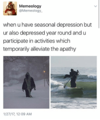 Memes, Apathy, and 🤖: Memeology  @Meme ology.  when u have seasonal depression but  ur also depressed year round and u  participate in activities which  temporarily alleviate the apathy  1/27/17, 12:09 AM