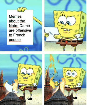 What are they gonna do, throw a baguette at me?: Memes  about the  Notre Dame  are offensive  to French  people.  od What are they gonna do, throw a baguette at me?