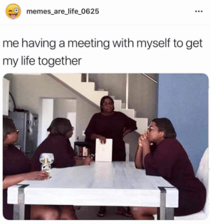 : memes_are_life_0625  me having a meeting with myself to get  my life together