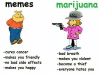 bad breath: memes  Cures Cancer  makes you friendly  no bad side effects  -makes you happy  marijuana  G G  bad breath  -makes you violent  -become a thief  -everyone hates you