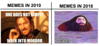 """Memes, One, and Via: MEMES IN 2010  MEMES IN 2018  ONE DOES NOT SIMPLY  2  WALK INTO MORDOR <p>8 years via /r/MemeEconomy <a href=""""https://ift.tt/2wpKmau"""">https://ift.tt/2wpKmau</a></p>"""