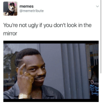 😂 Follow @thefactsbible: memes.  @meme tribute  You're not ugly if you don't look in the  mirror 😂 Follow @thefactsbible