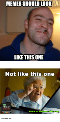 Pro Memers will know: MEMES SHOULD LOOK  LIKE THIS ONE  Not like this one  MEME  GENERATOR  more at mememakker com  Damian Beukes Pro Memers will know