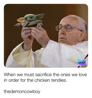 Sacrifice for the nuggies: MEMES  When we must sacrifice the ones we love  in order for the chicken tendies.  thedemoncowboy Sacrifice for the nuggies