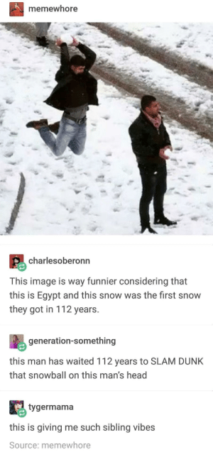 Dunk, Head, and Image: memewhore  charlesoberonn  This image is way funnier considering that  this is Egypt and this snow was the first snow  they got in 112 years.  generation-something  this man has waited 112 years to SLAM DUNK  that snowball on this man's head  tygermama  this is giving me such sibling vibes  Source: memewhore Snow Slam Dunk
