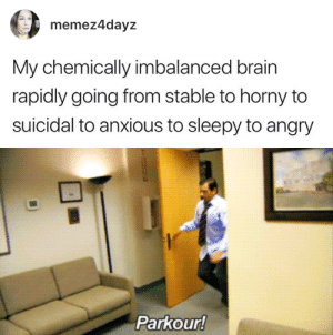 Horny, Brain, and Parkour: memez4dayz  My chemically imbalanced brain  rapidly going from stable to horny to  suicidal to anxious to sleepy to angry   Parkour!