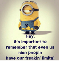 Memes, Limited, and 🤖: memIGnsscom  Hey,  it's important to  remember that even us  nice people  have our freakin' limits!