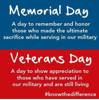 Trying to explain to my kids this morning the difference between Memorial Day and Veterans Day. #ThankYouForMakingTheUltimateSaceifice #MemorialDay: Memorial Day  A day to remember and honor  those who made the ultimate  sacrifice while serving in our military  Veterans Day  A day to show appreciation to  those who have served in  our military and are still living  Trying to explain to my kids this morning the difference between Memorial Day and Veterans Day. #ThankYouForMakingTheUltimateSaceifice #MemorialDay