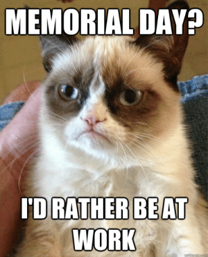 memorial day? i'd rather be at work - Misc - quickmeme: MEMORIAL DAY?  'D RATHERBEA  WORK memorial day? i'd rather be at work - Misc - quickmeme