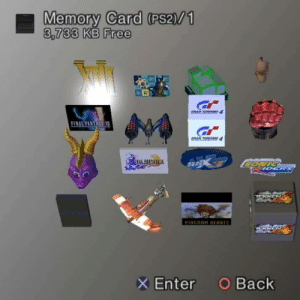 Memories: Memory Card (PS2)/1  3,733 KB Free  FINAL FANTAGT  GRAN TURISO4  NAL FANTARTX  CONIC  IDERS  KINGDOM HEARTS  O Back  Enter Memories