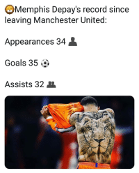 Goals, Memes, and Manchester United: Memphis Depay's record since  leaving Manchester United  Appearances 34  Goals 35 ^>  Assists 32 United is a cancer 👌😂🚫