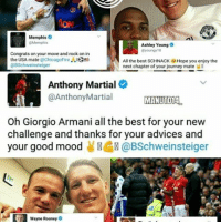 Farewell Basti much luck to your future 🙏🙏🙏 Always in our Hearts we love you Mr.calm . mufc manchesterunited ggmu mourinho davesaves reddevils oldtrafford darmian mkhitaryan ibrahimovic bailly pogba waynerooney martial anderherrera rashford philjones daleyblind lingard ashleyyoung valencia lukeshaw smalling daviddegea juanmata manutd14_ manutd14_id: Memphis O  Ashley Young  O  ilyoungy 18  Congrats on your move and rock on in  the USA, mate  @Chicago Fire  ..83S  All the best SCHNACK Hope you enjoy the  DBSchweinsteiger  next chapter of your journey mate  Anthony Martial  @Anthony Martial  MANUTD1A  Oh Giorgio Armani all the best for your new  challenge and thanks for your advices and  your good mood  @BSchweinsteiger  Wayne Rooney  o Farewell Basti much luck to your future 🙏🙏🙏 Always in our Hearts we love you Mr.calm . mufc manchesterunited ggmu mourinho davesaves reddevils oldtrafford darmian mkhitaryan ibrahimovic bailly pogba waynerooney martial anderherrera rashford philjones daleyblind lingard ashleyyoung valencia lukeshaw smalling daviddegea juanmata manutd14_ manutd14_id
