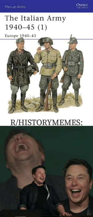 Army, Europe, and History: Men-at-Arms  OSPREY  PUBLISHING  The Italian Army  1940-45 (1)  Europe 1940-43  R/HISTORYMEMES: Elon laughs, so can you!