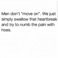 "Friday, Funny, and Hoes: Men don't ""move on"". We just  simply swallow that heartbreak  and try to numb the pain with  hoes. Friday Fax 💯😂"