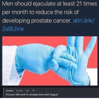 Cancer, Link, and MeIRL: Men should ejaculate at least 21 times  per month to reduce the risk of  developing prostate cancer. attn.link/  2slBJVw  weeBob 631 pts 6hr  It's June 18th and I'm already done with August meirl