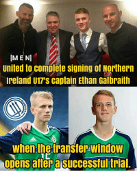 Memes, Respect, and Manchester United: [MEN  United to complete signing of Northern  Ireland U17's captain Ethan Galbraith  when the transter window  opens aftera successfultrial Manchester United will complete the signing of Northern Ireland defensive midfielder Ethan Galbraith (16) this weekend . Galbraith will pen a two-year professional contract which will be preceded by a one-year scholarship . He will now join Kieran McKenna 's u18 set-up for pre-season training after making the move to Manchester permanent . The 16-year-old is the captain of Northern Ireland's u17s and has already made his debut at u18 level for his country . RESPECT mufc manchesterunited ggmu mourinho davesaves reddevils oldtrafford darmian mkhitaryan ibrahimovic bailly pogba waynerooney martial anderherrera rashford philjones daleyblind lingard ashleyyoung valencia lukeshaw smalling daviddegea juanmata manutd14_ manutd14_id