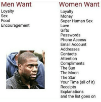 😂😂😂😂😂😂💯 pettypost pettyastheycome straightclownin hegotjokes jokesfordays itsjustjokespeople itsfunnytome funnyisfunny randomhumor: Men Want  Loyalty  Sex  Food  Encouragement  Women Want  Loyalty  Money  Super Human Sex  Love  Gifts  Passwords  Phone Access  Email Account  Addresses  Contacts  Attention  Compliments  The Sun  The Moon  The Star  Your Time (all of it)  Receipts  Explanations  and the list goes on 😂😂😂😂😂😂💯 pettypost pettyastheycome straightclownin hegotjokes jokesfordays itsjustjokespeople itsfunnytome funnyisfunny randomhumor